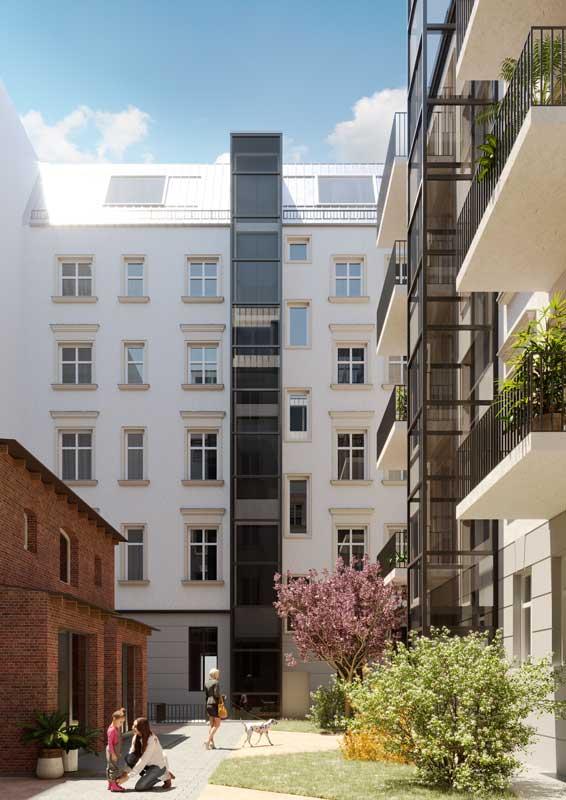 LORELEY - Pestalozzistraße 11 - Hinterhof mit Gebäudeansicht